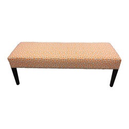 Sole Designs - Sole Designs Amelia Chain Bench - Treat your decor to the brightness of color and the liveliness of print with the Sole Designs Amelia upholstered living room bench. With its clean simple lines and orange-and-white geometric print,this 55-inch long bench is a standout.