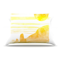 """Kess InHouse - Frederic Levy-Hadida """"Landscape Painted With Tea"""" Orange Coastal Pillow Case, Ki - This pillowcase, is just as bunny soft as the Kess InHouse duvet. It's made of microfiber velvety fleece. This machine washable fleece pillow case is the perfect accent to any duvet. Be your Bed's Curator."""