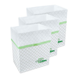 Clean Cubes - Clean Cubes Disposable Bin - 6-Pack Trellis Pattern - Clean Cubes are attractive, disposable trash and recycle bins. Their dual-purpose design is comprised of a durable paper bin lined with a leak-resistant plastic trash bag. Clean Cubes make recycling and trash disposal a snap - just pop it open, then fill it with recyclables or trash. When the Clean Cube is full, lift and tighten the drawstring on the plastic bag and dispose of the entire Clean Cube! Clean Cubes provide additional recycling or trash space wherever and whenever you need it. Don't you hate it when guests are over and you run out of trash space? Just pop open another Clean Cube and you have an instant extra recycling bin or trash can. Having a cookout and don't have outdoor trash receptacles? Whether for parties, picnics, camping, boats, trade shows, or any number of uses, Clean Cubes are a great solution anytime you could use instant trash or recycling bins. Clean Cubes and all of its components are biodegradable.
