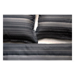 Area Inc. - May Black King Duvet Cover - Area Inc. - Dark colors and a classic pattern combine to give the May Black King Duvet Cover its sleek, bold look. Made from 100% cotton jacquard, this duvet features an irregular, mixed weave stripe pattern in black, taupe and brown. Button closure makes for easy fastening. Pair it with other bedding from the May Back series for a cohesive look.