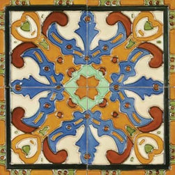 """Glass Tile Oasis - Figuras 6"""" x 6"""" Orange 6"""" x 6"""" Deco Tiles Glossy Ceramic - All ceramic tiles are hand painted. Glazed thickness will vary from tile to tile, resulting in color variation. Hand-Painted Ceramic tiles will craze and crackle over time, which is intentional and a desired effect."""