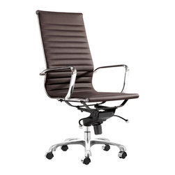 Advanced Interior Designs - AG Management Office Chair High Back, Espresso - Famous Aluminum Management Chair - Style Replica is made from a high tech chrome plated steel frame with rolling base, adjustable height and locking tilt. PU leather cushing and unique flexible suspension provide long term comfort. This handsome and versatile chair reflects the dynamic of the body to permit seamless movement from one activity to another.