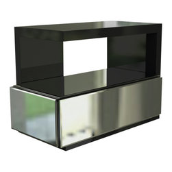 Sheres - Tatami Nightstand, 1 Mirror Drawer - Modern design with a dynamic twist; A mirror adds energy and elegance to the nightstand. The matte black case is a beautiful contrast to the silver mirror.