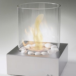 Eco-Feu - Love-Box Table Top Fireplace - Features: -Tabletop fireplace.-Square base tabletop with glass cylinder.-Burns without odor.-Burns without residue.-Burns up to eight hours without refilling.-Collection: Tabletops.-Distressed: No.-Powder Coated Finish: No.-Gloss Finish: No.-Material: Steel.-Number of Items Included: 2 (fireplace and decorative stones).-Tabletop Fireplace: Yes.-Fuel Type: Eco-Feu Bio Ethanol.-Fuel Included: No.-Fuel Tank Capacity: 900 ml.-Burn Time of Fuel Accommodated: Up to 8 hours.-Gas Conversion Feature: No.-Plug In: No.-Ignition: BBQ lighter.-Vent: No.-Heat Resistant Coating: Yes.-Spark Screen Included: No.-Snuffer Included: Yes.-Built in Cooking Area: No.-Portable: Yes.-Lid Included: No.-Cover Included: No.-Compatibility: Eco-Feu.-Swatch Available: No.-Commercial Use: Yes.-Product Care: Read instruction manual carefully prior to use.Dimensions: -Overall Height - Top to Bottom: 14.25''.-Overall Width - Side to Side: 12''.-Overall Depth - Front to Back: 12''.-Overall Product Weight: 15 lbs.Assembly: -Assembly Required: No.-Additional Parts Required: No.