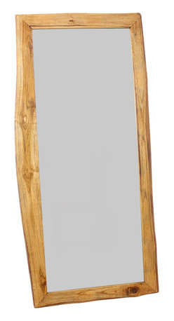 Kammika - Natural-Edge Farmed Teak Mirror - Our Farmed Teak Branch Wood Framed Mirror Natural Edges Rectangle 22 inch width x 48 inch length with Eco Friendly, Natural Livos Walnut Oil Finish is an artistic creation of interlaced branch pieces of varying heights and widths; it is a rustic masterpiece. Teak branch pieces are attached to a solid Teak wood frame, with the outer and inner portion showing the natural edges. The bias cut of the wood reveals the swirls of grain inside the teak branches. This mirror presents an extra large view size with 5mm mirror glass. The mirror glass retainer bars are solid 1 inch Teak; there are no metal tabs. These can be used in outdoor spaces, as the natural oils create a water resistant matte finish surface. When you want to do a last-minute check before heading out the door, nothing compares with a full-length floor mirror. Good ones are hard to find-and even harder is a vintage wood furniture piece like ours. This classic adds dimension to your room; it reflects back large areas to create a more spacious feeling. The natural Livos oil is translucent, so the wood grain detail is highlighted. Color ranges from medium to dark Walnut brown tones that will darken as the wood ages. There is no oily feel, and cannot bleed into carpets. Craftspeople from the Chiang Mai area in Northern Thailand create these Works of Art. We make minimal use of electric hand sanders in the finishing process. All products are dried in solar or propane kilns. No chemicals are used in the process, ever. Packaged with cartons from recycled cardboard with no plastic or other fillers, the color and grain of your piece of Nature will be unique, and may include small checks or cracks that occur when the wood is dried. Sizes are approximate. Product could have visible marks from tools used, patches from small repairs, knot holes, natural inclusions or holes. There may be various separations or cracks on your piece when it arrives. There may be some slight variati