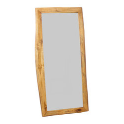 Kammika - Natural-Edge Farmed Teak Mirror - Our Farmed Teak Branch Wood Framed Mirror Natural Edges Rectangle 22 inch width x 48 inch length with Eco Friendly, Natural Livos Walnut Oil Finish is an artistic creation of interlaced branch pieces of varying heights and widths; it is a rustic masterpiece. Teak branch pieces are attached to a solid Teak wood frame, with the outer and inner portion showing the natural edges. The bias cut of the wood reveals the swirls of grain inside the teak branches. This mirror presents an extra large view size with 5mm mirror glass. The mirror glass retainer bars are solid 1 inch Teak; there are no metal tabs. These can be used in outdoor spaces, as the natural oils create a water resistant matte finish surface. When you want to do a last-minute check before heading out the door, nothing compares with a full-length floor mirror. Good ones are hard to find-and even harder is a vintage wood furniture piece like ours. This classic adds dimension to your room; it reflects back large areas to create a more spacious feeling. The natural Livos oil is translucent, so the wood grain detail is highlighted. Color ranges from medium to dark Walnut brown tones that will darken as the wood ages. There is no oily feel, and cannot bleed into carpets. Craftspeople from the Chiang Mai area in Northern Thailand create these Works of Art. We make minimal use of electric hand sanders in the finishing process. All products are dried in solar or propane kilns. No chemicals are used in the process, ever. Packaged with cartons from recycled cardboard with no plastic or other fillers, the color and grain of your piece of Nature will be unique, and may include small checks or cracks that occur when the wood is dried. Sizes are approximate. Product could have visible marks from tools used, patches from small repairs, knot holes, natural inclusions or holes. There may be various separations or cracks on your piece when it arrives. There may be some slight variation in size, color, texture and finish color.Only listed product included.