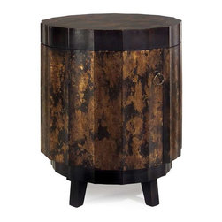 Gold and Black Table - This faceted round table features a rich gold and black finish and opens to reveal two shelves for storage.