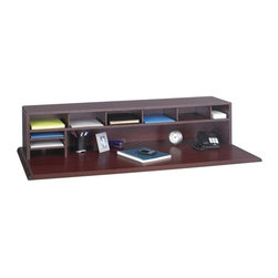 Safco - Low Profile Desk Top Organizer in Mahogany - Adds storage space without obstructing the view. Single full-width shelf and wood top. Fully adjustable shelves and dividers create a customized work center. Allows placement in open areas. 12 in. D finished back includes five 3.75 in. shelf dividers that adjust in 5 in. increments. Two letter-size literature trays can be mounted on the left and right-hand side. Made from furniture-grade compressed wood. Recycled from 80% secondary wood waste, no post consumer. Durable and attractive melamine finish. Literature Tray: 2 (letter size). Material Thickness: 0.63 in.. Divider Adjustability: 5 in. increments. Shelf Capacity: 75 lbs. (top shelf evenly distributed). Shelf Divider Thickness: 3.75 in.. Overall: 57.5 in. W x 12 in. D x 12 in. H (47 lbs.). Assembly InstructionNeed a little extra space to organize all your office supplies? The multi-purpose desk top organizer is the answer. Easily store supplies within reach on your desk, in the mail room, at a print station or any counter where space is a premium.
