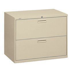 Hon - Basyx 400 2-Drawer Lateral File Cabinet - In business, sometimes a lateral move is just what you need. Take this lateral file cabinet, for example. It has plenty of room to keep your important hanging folders organized and its two drawers lock, in case you need extra job security.