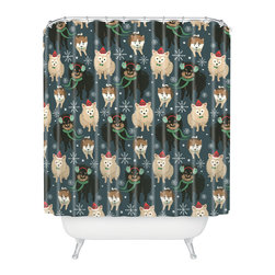 DENY Designs - DENY Designs Pimlada Phuapradit Christmas Canine Pomeranian Shower Curtain - Who says bathrooms can't be fun? To get the most bang for your buck, start with an artistic, inventive shower curtain. We've got endless options that will really make your bathroom pop. Heck, your guests may start spending a little extra time in there because of it!