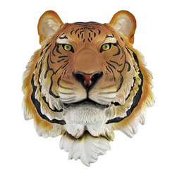 Zeckos - Bengal Tiger Head Mount Wall Statue Bust - This awesome, cold cast resin replica Bengal Tiger wall mount is a prefect addition to any jungle themed room. The head measures 16 inches tall, 13 1/4 inches wide and 8 inches deep. The detail is incredible, down to the hand painted eyes. This tiger`s head is brand new, and makes a great gift for any big cat fan or Cincinnati football fans.