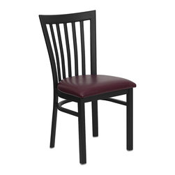 Flash Furniture - Hercules Series Black School House Back Metal Restaurant Chair Burgundy Seat - Provide your customers with the ultimate dining experience by offering great food, service and attractive furnishings. This heavy duty commercial metal chair is ideal for Restaurants, Hotels, Bars, Lounges, and in the Home. Whether you are setting up a new facility or in need of a upgrade this attractive chair will complement any environment. This metal chair is lightweight and will make it easy to move around. For added comfort this chair is comfortably padded in vinyl upholstery. This easy to clean chair will complement any environment to fill the void in your decor.