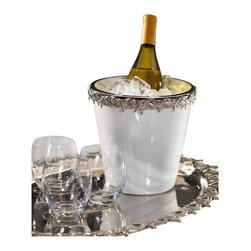 Zodax - Zodax White Ceramic Wine Cooler with Starfish Metal Trim - Zodax - Wine Racks - IN5151 - White Ceramic Wine Cooler with Starfish Metal Trim