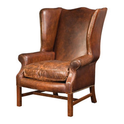 Four Hands - Wingback Arm Chair in Cigar Leather - Enjoy some privacy in your study or library with this wing back chair. You might feel in the mood for a cigar and smoking jacket, too. This vintage wing back chair comes with seven stages of staining, sealing and buffing providing authentic distressing. It took nearly 8 hours to finish this master piece. It��_s also features individually tucked nail heads, antiqued with linseed oil and talc. Chair is covered in top grain leather that��_s perfectly distressed and ready for you to settle in with a good book. Hardwood frame with rolled armrests and wingback. Square legs are reinforced with an H-stretcher. Seat pillow has a welt design for better wear.