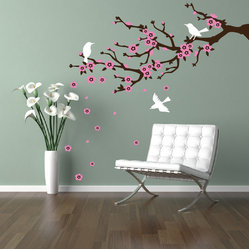 Cherry Walls - Cherry Blossom Branch Wall Decal - Enliven your home with eternal symbols of spring. A stylized branch, adorned with pristine new blossoms and birds, brings a fresh new look that's cheerful even when the weather outside isn't. C