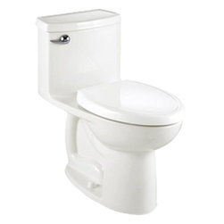 "American Standard - American Standard 2403.128.020 Compact Cadet 3 FloWise Elongated Toilet, White - American Standard 2403.128.020 Compact Cadet 3 FloWise Right Height Elongated One-Piece Toilet, White. This single-piece toilet features a Right Height elongated bowl, a 12"" Rough-in, an EverClean surface that inhibits the growth of bacteria, mold, and mildew, an oversized 3"" flush valve, a color-matched solid plastic toilet seat and cover with slow-close hinges, a fully-glazed 2-1/8"" trapway, and 2 color-matched bolt caps."