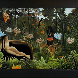 overstockArt.com - Rousseau - The Dream Oil Painting - Enjoy Henri Rousseau's beautiful display of naive jungle themes, The Dream , originally created in 1910, today it has been hand painted on canvas, color for color and detail for detail. Henri Julien Felix Rousseau was a French Post-Impressionist painter. Also known as Le Douanier (the customs officer), he was a tax collector. Ridiculed during his life, he came to be recognized as a self-taught genius.