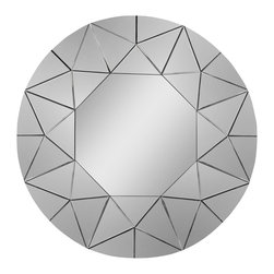Ren-Wil - Ren-Wil MT984 Round Mirror in All Glass - This spectacular mirror features diagonal-cut polished-edge mirrors creating a starburst-like design.