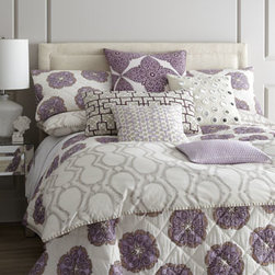 "Horchow - King Medallion Quilt, 110"" x 92"" - Lavender, eggplant, and tangerine medallions float on hand-quilted cotton voile bed linens with striped reverse and cotton batting. Duvet covers and matching European shams of 300-thread-count cotton percale feature a soft khaki-clay block print and h..."