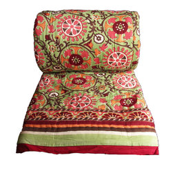 Uzbek lime quilt - Super soft light-weight reversible quilt from Rasany