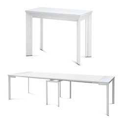 "DomItalia Furniture - Mondo Extendable Dining Table, White - This modern console / dining table expands into a large dining table and allows large dinner parties in small living spaces. With a sturdy steel frame and leaf extensions, the Mondo White Extendable Dining Table by Domitalia expands up to 136.5"" long and seats 10 people comfortably. The Mondo collapses to 39"" to free up floor space when not entertaining. It transitions to an accent piece to be used in a hallway, living room or kitchen lending to a range of modern aesthetics."