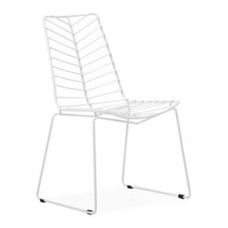 Grandin Road - Wendover Chair - Steel frame with an all-weather white epoxy finish. Suitable for indoor or outdoor use. Arrives assembled. Clean with a dry cloth. Light in form and generous in comfort, the Wendover Chair is sure to add a splash of modern elegance to any setting. Surround an outdoor dining table or add a pair to a sunny spot-this leaf-like design is sure to add the perfect balance to modern and classic styles alike.. . . . Imported.