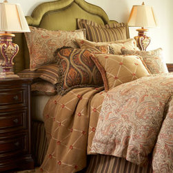 Gerry Nichol - Traditional Bed Pillows - Patina Spice bed linens are a handsome mix of paisley and stripes in rich earth tones. Aptly named for the extra layer of comfort and color they add to any pattern, sheared chenille Contentment linens are patterned with diamond stitching and eyelash dots. All are made in the USA of imported fabrics by Legacy Home. Dry clean. For Contentment linens (featured in topaz), choose color below. Paisley linens are rayon/polyester. Striped linens are cotton/polyester. Contentment linens are made of polyester and lined with cotton in a coordinating color. Paisley duvet covers have a chocolate cotton reverse, and matching accent pillow has chocolate cotton piping. Striped tailored platform dust skirts have an 18 drop. Rod-pocket paisley curtains have matching tiebacks and a cotton lining. We added the Art Nouveau-inspired, handwoven wool pillow with tassel fringe and feather/down fill. Imported. Dry clean. To see the photo with each piece labeled,