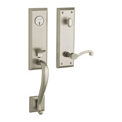 Baldwin Hardware - Stonegate Single Cylinder LH Handleset with Classic Lever in Satin Nickel - Feel the difference - Baldwin hardware is solid throughout, with a 60 year legacy of superior style and quality. Baldwin is the choice for an elegant and secure presence.