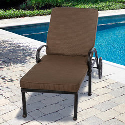 "None - Outdoor 21"" Wide Chaise Lounge Cushion with Sunbrella Fabric - Textured Neutral - Spruce up your sun-lounger with a new and stylish, 21-inch-wide, outdoor cushion. With a choice of four natural colors you can bring your outdoor lounging up to date in comfort with these practical and modern Sunbrella covered cushions."