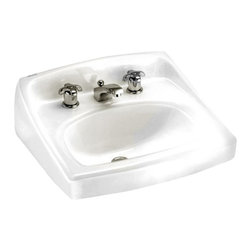 """American Standard - American Standard 0356.015.020 Lucerne Wall-Mount Sink, White - American Standard 0356.015.020 Lucerne Wall-Mount Sink, White. This wall-hung lavatory is constructed of vitreous china, and includes a front overflow, a concealed wall-hanger mounting, a D-shaped bowl, a self-draining deck area with contoured back and side splash shields, and a faucet ledge. This model comes with 8"""" centered faucet mounting holes, and it measures 20-1/2"""" by 18-1/4"""", with a 6-1/2"""" bowl depth."""