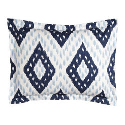 John Robshaw - John Robshaw Standard Pamir Diamond Sham - John Robshaw is our go-to guy for eye-opening patterns reproduced from hand-block-printed originals. This indigo collection features Pamir diamond duvet covers and shams of 200-thread-count cotton percale. Talas chevron quilts with striped reverse are...
