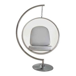 Modway - Ring Chair Chair With Silver Pillows - Eei-111-Slv - Clear Acrylic