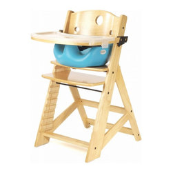 Keekaroo - Keekaroo Height Right High Chair Natural with Aqua Infant Seat & Tray Multicolor - Shop for Highchairs from Hayneedle.com! You wish your baby would stay tiny but they never listen. Thankfully the Keekaroo Height Right High Chair with Infant Seat & Tray - Aqua will grow right along with your tot. This strong rubberwood chair with natural finish includes a seat that's adjustable in height and depth from 6 months to adult. The footrest can be raised to just the right spot for supportive comfortable dining. No more squirming! A 3-point safety belt is included. Holds up to 250 lbs. It's backed by a 5-year warranty. Assembles easily. Using the High Chair's 3-point harness the Infant Seat slips in to provide cushy support and security to children still discovering their balance. High sides hold them straight and the integrated pommel keeps them from squirming loose. But why squirm? The latex-free Aqua-colored seat is cushy-soft and comfortable impermeable to fluids and easy to clean. The Keekaroo Feeding Tray has a natural satin finish to match the Height Right Chair and cleans easily with a wipe. It includes a built-in ledge to keep dishes toys and spills under control. The tray removes easily out of your way while you load and unload your happy toddler. Keekaroo cares about the environment. That's why they use only eco-friendly rubberwood which after its use for adhesives is crafted in building fine furniture. In addition the finish on this high chair is composed from a plant-based lacquer with no pigment or lead and has low volatile organic compounds. So rest assured that you're making a green choice with Keekaroo! High chair seat dimensions: 16.5W x 9.5D inchesSeat height: 16.5-24.5 inches Infant seat dimensions:Inside of seat: 10W x 8D inchesOuter seat: 13.5W x 13.5D inchesSeat of chair to seat of booster height: 3 inchesOverall insert height: 5.5 inches About KeekarooKeekaroo high chairs and accessories were the brainchild of a father devoted to making better safer furniture for his own children. Rethinking size shape and support from the perspective of a parent owner Tom Bergeron tapped the creativity and insights of his own children to create the most innovate line of high chairs and accessories available. Each offers a more comfortable seating experience grows with your child and has an easy-to-clean surface for mom and dad.