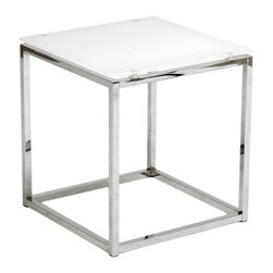 Euro Style - Sandor Side Table - Pure white printed, tempered glass top, 8mm thick. Chromed steel base. Color/Finish: Pure White Glass/Chrome. 17.75 in. L x 17.75 in. W x 19 in. HThe proportions of these three tables (coffee, side and console) are iconic to say the least.  Tops in clear or pure white glass float on perfectly geometric chrome steel bases.  Were talking Museum of Modern art here.  Not really.  But its the right thing to do.
