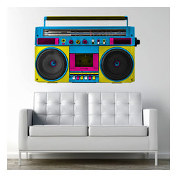 Patrick Weber - Retro Boombox Adhesive Wall Decal - Retro Boombox Wall Decal is just the modern twist you need. Retro is back! and what better way to join the trendy train than to have an old school boombox wall decal right in your living room? Put your cool on display and make everyone jealous of your superior trendiness. Modern Wall Decals are the perfect addition to your home.