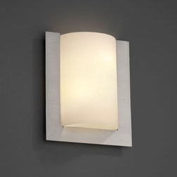 Justice Design Group - Fusion Framed Rectangle Three-SidedTwo-Light Fluorescent Brushed Nickel ADA Wall - - (2) 13W lamps included. ADA.  - Shade Detail - Opal  - Shade Material - Artisan Glass Justice Design Group - FSN5562OPALNCKL