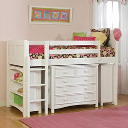 Bolton Furniture - Cottage Low Loft - White - VER157 - Shop for Bunk Beds from Hayneedle.com! Create a fun and functional space in your kid's room by choosing the Cottage Low Loft - White. This twin-sized loft bed features guard rails for added security while the matching ladder makes climbing into bed safe and fun. Add the optional seven-drawer dresser five-drawer dresser and bookcase to create spacious convenient storage. All pieces are made of durable hardwoods with easy-to-clean veneer buffed to a beautiful natural finish.Dimensions:Bed: 79L x 42W x 65H inchesBookcase: 37W x 14D x 34H inches5-Drawer Dresser: 41W x 19D x 34H inches7-Drawer Dresser: 60W x 19D x 34H inchesPlease note: Bunk beds and loft beds are only to be used by children 6 years of age or older.About BoltonBolton Furniture is proud to offer consumers quality wood pieces at affordable prices and has done so since the 1900s. Each piece is carefully crafted from the beginning stages of kiln drying to the packaging of the finished product. Having specialized in the detailed wood-craftsmanship of musical instruments Bolton Furniture perfected woodworking in the 1970s. This means that their furniture pieces are created with extreme attention to detail and superior precision. Bolton Furniture's reputation is built on its products - durable lasting and beautiful.