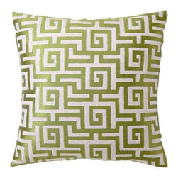 DL Rhein Greek Key Avocado Embroidered Linen Pillow - You can never go wrong with the classic Greek key pattern.