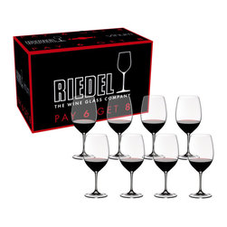 Riedel - Riedel Vinum Cabernet Sauvignon/Merlot/Bordeaux Pay 6 Get 8 Glasses - Set of 8 - This Riedel Vinum Bordeaux stemware set is an amazing value at 8 glasses for the price of 6. The glasses in this set of eight were specifically shaped to highlight the fruit in full-bodied red wines with high levels of tannin, such as Bordeaux, Cabernet Franc, Cabernet Sauvignon, Merlot, Rioja, and Tempranillo. The design of the Bordeaux bowl directs the wine to the area of the palate that perceives sweetness, emphasizing the fruit and mellowing the acidity or any rough edges, while the large bowls provide room for the wine's rich bouquet to unfold.
