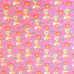 """SheetWorld - SheetWorld Fitted Pack N Play Sheet - Tweety Love Pink - Made in USA - This 100% cotton """"woven"""" pack n play (large) sheet features the one and only Tweety! Our sheets are made of the highest quality fabric that's measured at a 280 tc. That means these sheets are soft and durable. Sheets are made with deep pockets and are elasticized around the entire edge which prevents it from slipping off the mattress, thereby keeping your baby safe. These sheets are so durable that they will last all through your baby's growing years. We're called Sheetworld because we produce the highest grade sheets on the market. Size: 29.5"""" x 42""""."""