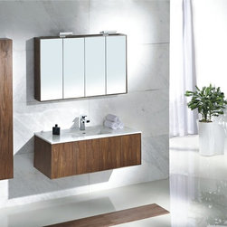 "Felino - Modern Bathroom Vanity Set 46.5"" - The Felino is a Modern Bathroom Vanity Set that embraces the latest trend in luxury modern bathroom design by incorporating sophisticated designs and shapes into every bathroom. This Modern Bathroom Vanity boasts sleek lines that create an eye catching element to any home."