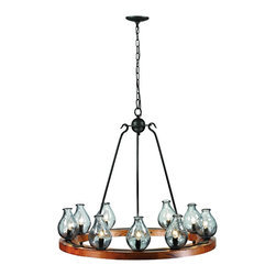 """Trans Globe Lighting - Trans Globe Lighting 70579 9 Light ChandelierBottles Collection - Capture rustic old world charm from natural elements in this hand blown glass vases wheel chandelier. Set upon a wood platform, each vase stands 7"""" tall. Charcoal finish hook-arm supports blend contemporary elements with ageless style. Glass vases are a deep aqua-marine blue and hammered into timeless beauty."""