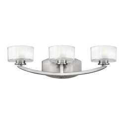 Hinkley Lighting - Hinkley Lighting 5593BN Meridian Brushed Nickel 3 Light Vanity - Hinkley Lighting 5593BN Meridian Brushed Nickel 3 Light Vanity