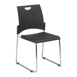 Office Star - Office Star STC Series Set of 4 Straight Leg Stack Chair in Black - Office Star - Drafting Chairs - STC8302C43 - Straight Leg Stack Chair with Plastic Seat and Back. Black. 2 Pack. Plastic Seat and Back. Available in 2 (STC8300C2), 4 (STC8300C4) or 30 (STC8300C28) Pack. Stacking Dolly Available (DOL8300). 28 Pack ships with Dolly. Chrome Finished Steel Frame.