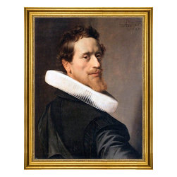 """Nicolaes Eliasz Pickenoy-18""""x24"""" Framed Canvas - 18"""" x 24"""" Nicolaes Eliasz Pickenoy Self-Portrait at the Age of Thirty-Six framed premium canvas print reproduced to meet museum quality standards. Our museum quality canvas prints are produced using high-precision print technology for a more accurate reproduction printed on high quality canvas with fade-resistant, archival inks. Our progressive business model allows us to offer works of art to you at the best wholesale pricing, significantly less than art gallery prices, affordable to all. This artwork is hand stretched onto wooden stretcher bars, then mounted into our 3"""" wide gold finish frame with black panel by one of our expert framers. Our framed canvas print comes with hardware, ready to hang on your wall.  We present a comprehensive collection of exceptional canvas art reproductions by Nicolaes Eliasz Pickenoy."""