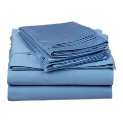 650 Thread Count Egyptian Cotton Queen Medium Blue Solid Sheet Set - 650 Thread Count Egyptian Cotton oversized Queen Medium Blue Solid Sheet Set