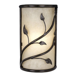 Vaxcel - Vaxcel Vine Wall Sconce w/ Amber Flake Glass - Vine Wall Sconce Oil Shale w/ Amber Flake Glass