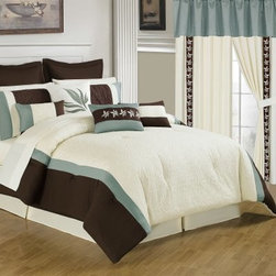 Lavish Home 25 Piece Room-In-A-Bag Anna Bedroom Set - A complete collection, the Lavish Home 25 Piece Room-In-A-Bag Anna Bedroom Set includes everything from window treatments to bedding. A stylish way to revamp your guest bedroom, this collection has a contemporary chocolate brown, white, and blue stripe pattern with stylized leaf embroidery details. The set is made of super-soft polyester and coordinates beautifully. The comforter is overfilled and oversized for comfort and style. All pieces are machine-washable in cold water; tumble-dry on low.Set Includes:1 Comforter1 Bedskirt: 15D in.2 Pillow shams: 20 x 36 in.3 Euro pillow shams: 26 x 26 in.4 Decorative pillows1 Flat sheet1 Fitted sheet2 Pillowcases: 20 x 40 in.4 Window panels: 56 x 84 in.2 Window valances: 84W x 15L in.4 Curtain tie-backsComforter Dimensions:Queen: 92L x 92W in.King: 106L x 92W in.About Trademark Global Inc.Located in Lorain, Ohio, Trademark Global offers a vast selection of items for your home and lifestyle. Whether you need automotive products, collectibles, electronics, general merchandise, home and garden items, home decor, housewares, outdoor supplies, sporting goods, tools, or toys, Trademark Global has it at a price you can afford. Decor items and so much more are the hallmark of this company.