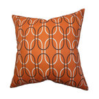 """The Pillow Collection - Ickitt Geometric Pillow Orange 18"""" x 18"""" - This accent pillow offers a distinctive look to your interiors. Showcasing a vibrant color palette with shades of orange, white and black, this decor piece is perfect for various settings. Crafted with 100% soft cotton fabric, this throw pillow will make your sofa, bed or seat more cushy and comfortable. Combine with solids and other patterns for a professional-looking decor style. Hidden zipper closure for easy cover removal.  Knife edge finish on all four sides.  Reversible pillow with the same fabric on the back side.  Spot cleaning suggested."""