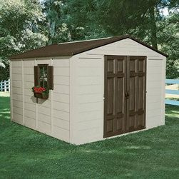 Suncast 10.5 x 10.5 ft. Storage Shed - Dimensions:Exterior dimensions: 10.43W x 10.35D x 7.56H feetInterior dimensions: 9.75W x 9.75D x 7.03H feetDoor dimensions: 4.67W x 5.73H feetWith 625 cubic feet of space the Suncast 10.5 x 10.5 Foot Storage Building is large enough to store your tractor gardening tools lawn furniture trash cans and more. The durable resin construction means it will look like new year after year will never peel or warp and will never need to be sanded or painted. Designed to withstand the harshest elements this shed will stay dry at all times. Double doors allow easy access to the inside while lockable doors with upper and lower latches ensure the security of your property. A skylight lets in enough natural light to make your way around during the day. Two windows with shutters and window boxes give this shed a cozy feel. Clean lines attractive taupe and bronze color and versatile function make this storage building the perfect backyard storage solution. Assembly is a weekend project for one or two people.About Suncast CorporationSuncast is known for its high-quality low-maintenance storage products and accessories. Organize gardens back yards garages basements and more. Suncast's full line of products includes everything from storage lockers to sheds and bins. Suncast pieces are designed for low-maintenance worry-free performance that's versatile enough to suit your every need.